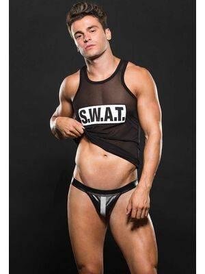 Conjunto S.W.A.T. Jockstrap & T-Shirt Preta