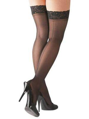 Meias Com Costura Hold Ups Cottelli Collection Preto