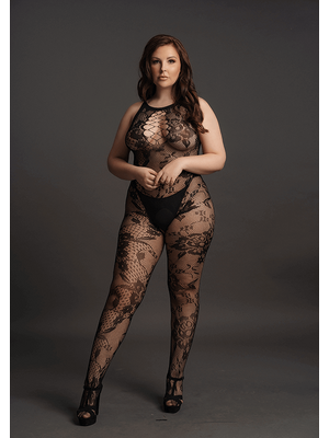 Bodystocking High Neck Lace Pattern Le Désir by Shots Tamanho Grande