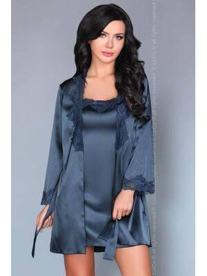 Camisa de Noite e Robe Jacqueline Azul